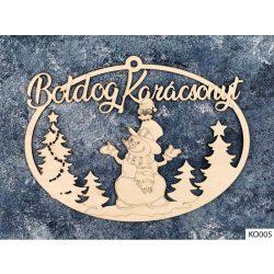 Karácsonyi dekoráció, ajtódísz, hóember