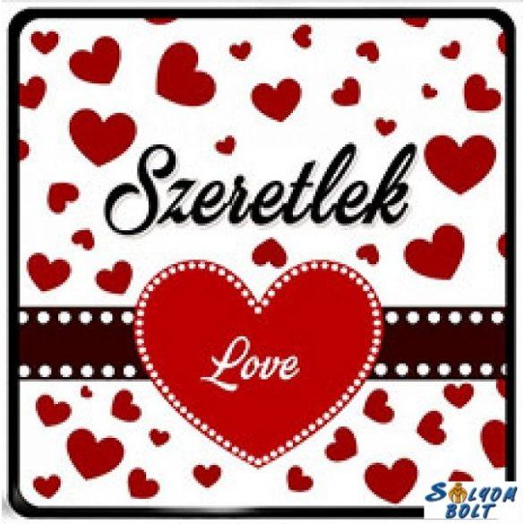 Szerelmes hűtőmágnes, szeretlek, love, sok szív