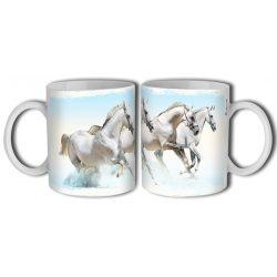 Lovas bögre, fehér lovak