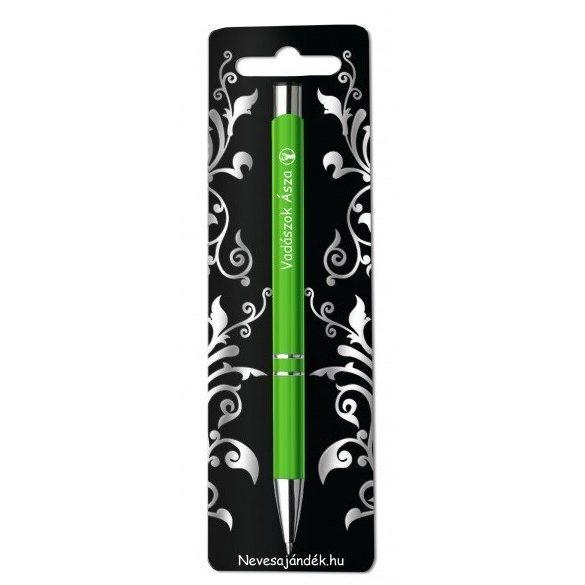 Gravírozott toll, Vadászok ásza, zöld