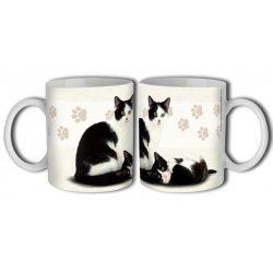 Cicás bögre, fekete-fehér macska