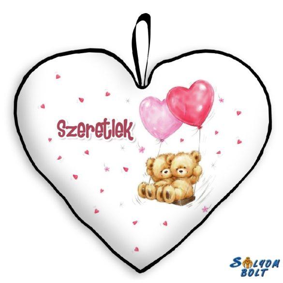Szív alakú párna, macik szív lufikkal