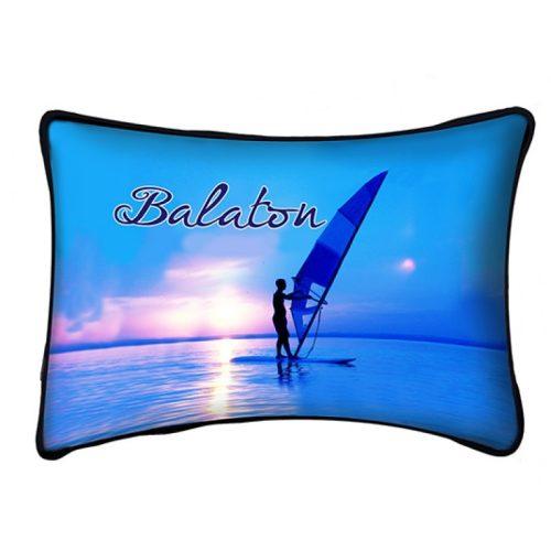 Balaton díszpárna, kék szörfös