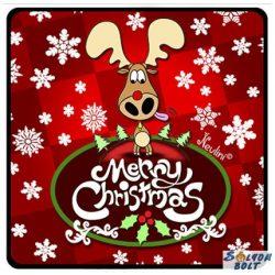 Karácsonyi hűtőmágnes, Merry Christmas, szarvas