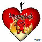 Szív alakú párna, mérges ördög, szeretlek