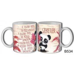 Szerelmes bögre, szeretlek, a legszebb érzés, panda maci