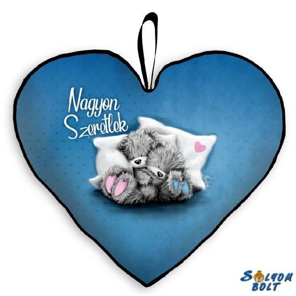 Szív alakú párna, nagyon szeretlek, macik