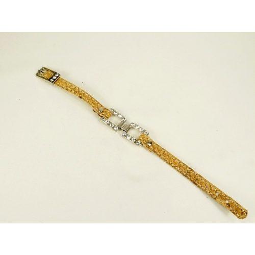 Kígyóbőr karkötő Swarovski kristállyal, több színben