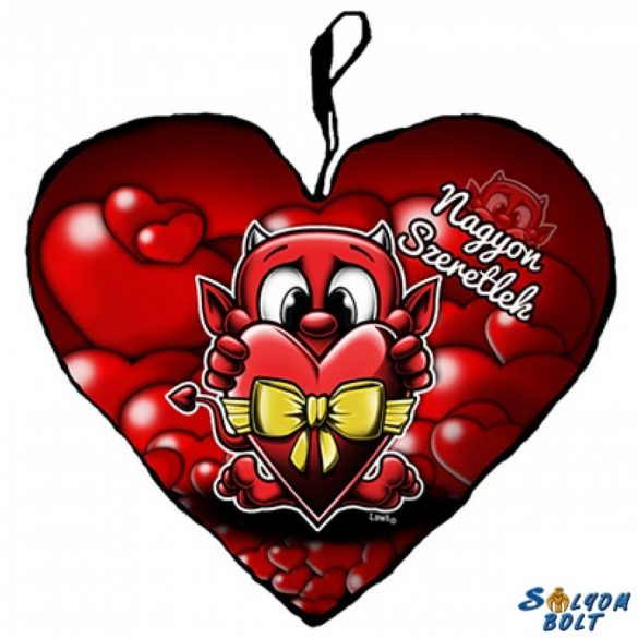 Szív alakú párna, ördög masnis szívvel, nagyon szeretlek