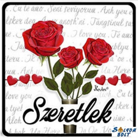 Szerelmes hűtőmágnes, szeretlek, rózsák
