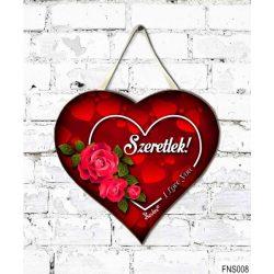 Szív tábla falra, piros rózsák, szeretlek, szerelmes ajándék
