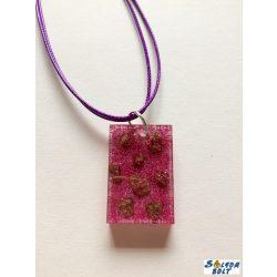 Kézműves műgyanta nyaklánc, lila álom arannyal