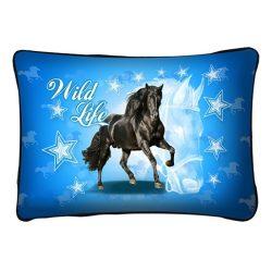 Lovas díszpárna, fekete ló, wild life