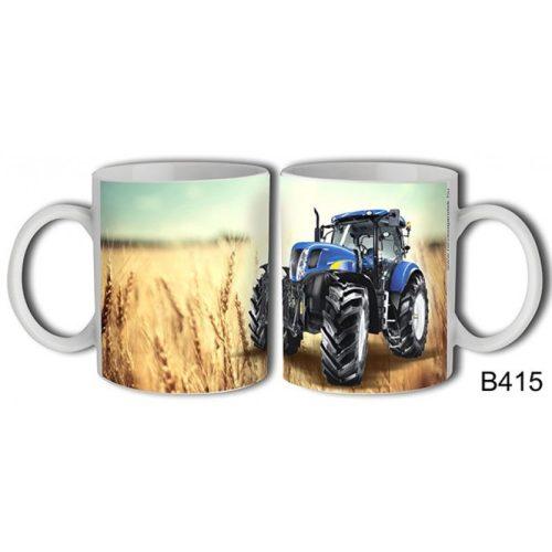 Bögre, kék traktor