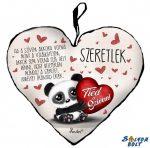 Szív alakú párna, Tiéd a szívem, panda maci, szeretlek