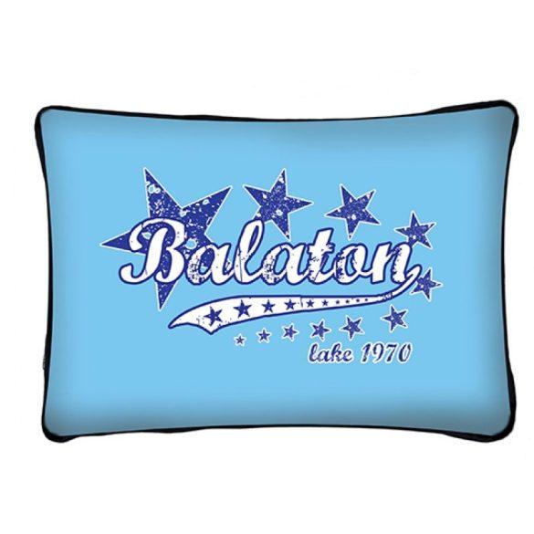 Balaton díszpárna, csillagok, kék