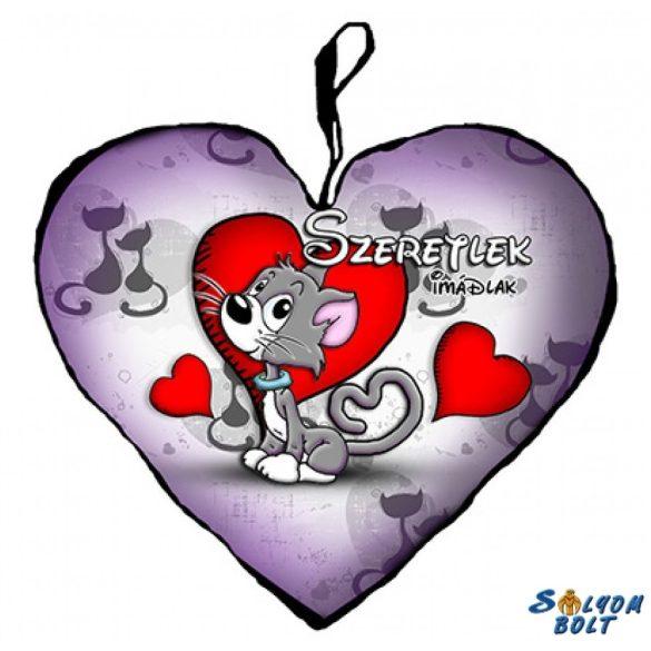 Szív alakú párna, szürke cica, szeretlek