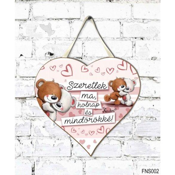 Szív tábla falra, macik, Szeretlek ma, holnap és mindörökké, szerelmes ajándék