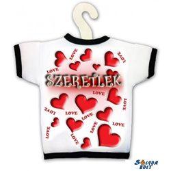 Üvegpóló, Imádlak, piros szívek, szerelmes ajándék