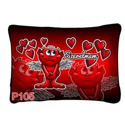 Díszpárna, ördög, szerelmem, sok piros szív, szerelmes ajándék