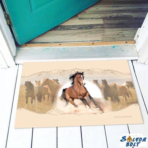 Vicces színes lábtörlő, Barna futó ló