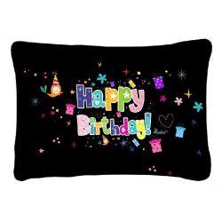 Díszpárna, Happy Birthday, fekete alapon
