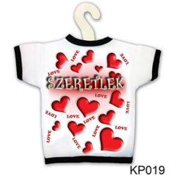 Üvegpóló, szeretlek, piros szívek, szerelmes ajándék
