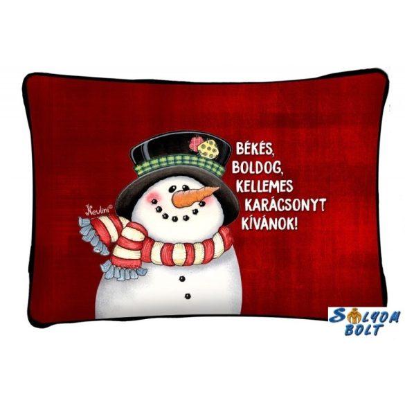 Díszpárna karácsonyra, hóember békés karácsony