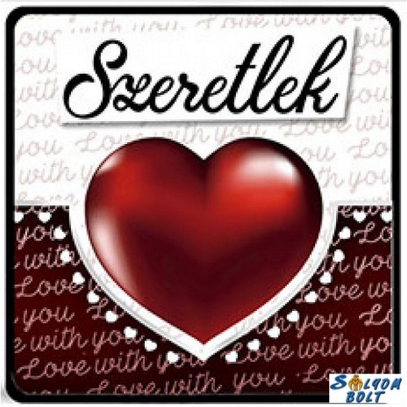 Szerelmes hűtőmágnes, nagy piros szív, szeretlek