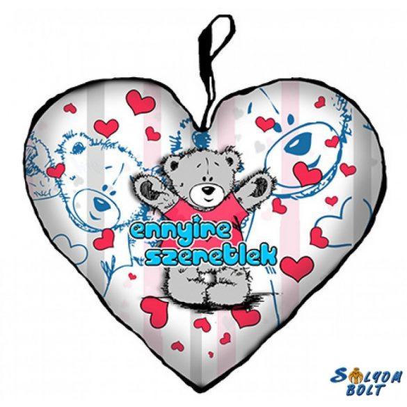 Szív alakú párna, ennyire szeretlek, maci