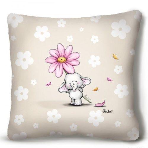 Kicsi plüss díszpárna, kis elefánt virággal