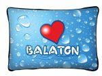 Balaton díszpárna, vízcseppek és szív