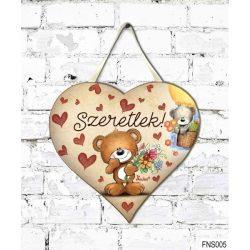 Szív tábla falra, macik virágokkal, szeretlek, szerelmes ajándék
