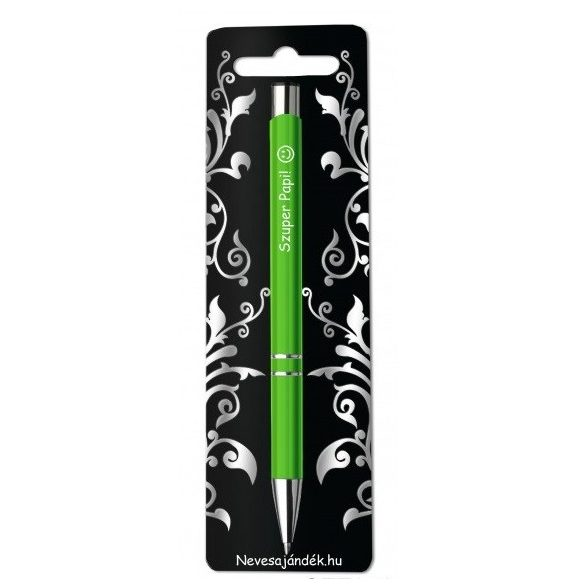 Gravírozott toll, Szuper papi, zöld