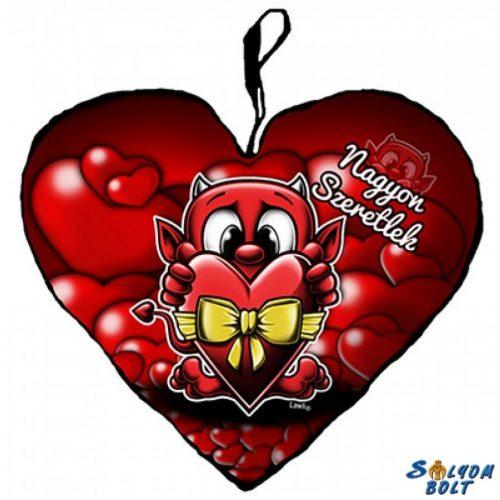Szív alakú párna, ördög masnis szívvel, nagyon szeretlek, akciós
