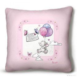 Kicsi plüss díszpárna, Boldog szülinapot, kis elefánt lufikkal, rózsaszín