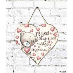 Szív tábla falra, Maci szívekkel, téged szeretlek a világon a legjobban, szerelmes ajándék