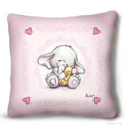 Kicsi plüss díszpárna, kis elefánt macival