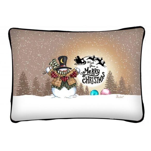 Díszpárna karácsonyra, hóemberes karácsony