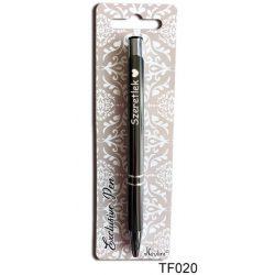 Feliratos gravírozott toll, szeretlek, szerelmes ajándék