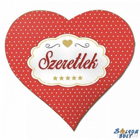 Szív hűtőmágnes, szeretlek, szerelmes ajándék