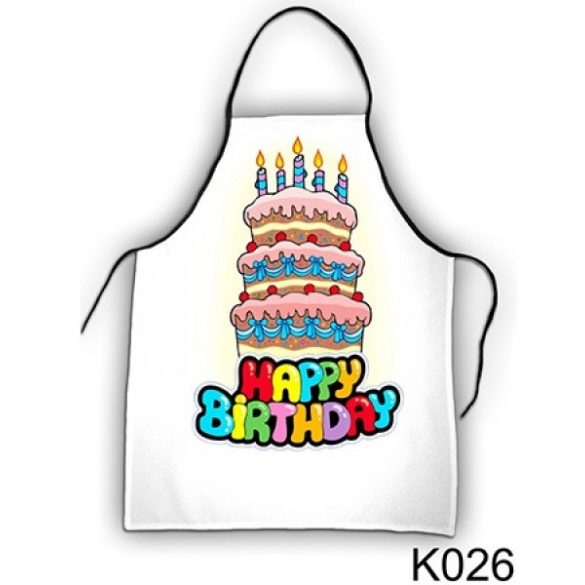 Szakács kötény, Happy Birthday, torta