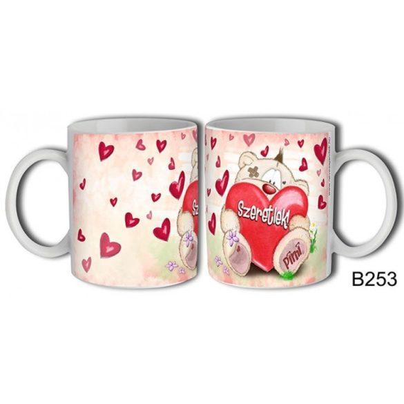 Szerelmes bögre, Pimi maci, szeretlek, nagy piros szív