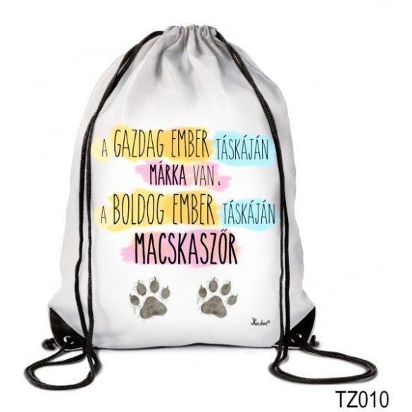 Vicces tornazsák, A gazdag ember táskáján macskaszőr van, a boldog ember táskáján macskaszőr
