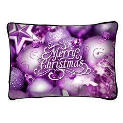 Díszpárna karácsonyra, lila díszek