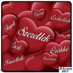 Szerelmes hűtőmágnes, Szeretlek, imádlak, piros szívek