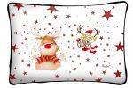 Díszpárna karácsonyra, mosolygó Rudolf szarvas