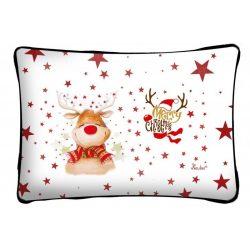 Díszpárna karácsonyra, mosolygó Rudolf rénszarvas