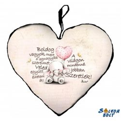 Szív alakú párna, szeretlek, kis elefánt szívvel