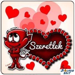 Szerelmes hűtőmágnes, szeretlek, szív, ördög
